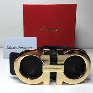 Other - Black Ferragamo Belt Gold Buckle